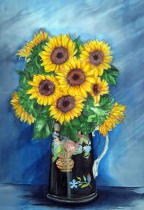 Sunflowers in Chinese Jug